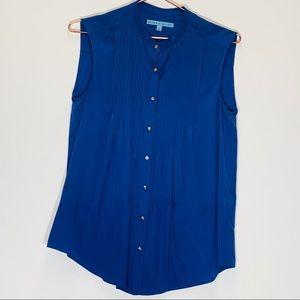 Antonio Melani Sleeveless Button Down Blouse Silk